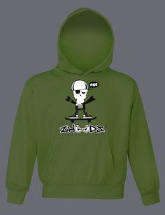 Skateboarder Original Kids Zhoodz® Hoody in Electric Green (reflective at night)  http://www.zhoodz.co.uk/product/3427/  #skateboard #nowyoureallyseeme #zhoodz #functionalfashion #children #clothing