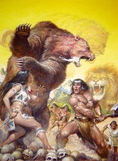 Earl Norem's cover illustration for 'Savage Sword of Conan' Dark Fantasy Art, Fantasy Artwork, Comic Books Art, Comic Art, Silver Surfer, Conan Comics, Conan The Barbarian, Sword And Sorcery, Fantasy Warrior