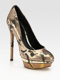 My new obsession, wish I could wear them everyday!   B Brian Atwood Metallic Snake-Print Leather Platform Pumps