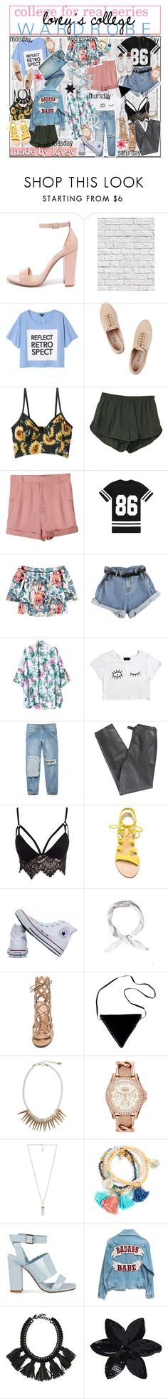 """Lovey's College Wardrobe"" by aloha-tip-girls ❤ liked on Polyvore featuring Steve Madden, Milton & King, Monki, Miu Miu, Elizabeth and James, Afends, Forever 21, Lafayette 148 New York, Club L and Cornetti"