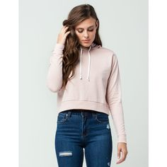 Full Tilt Essential Cropped Womens Hoodie ($30) ❤ liked on Polyvore featuring tops, hoodies, pink hoodies, cotton hooded sweatshirt, sweatshirt hoodies, crop top and fleece lined hoodie