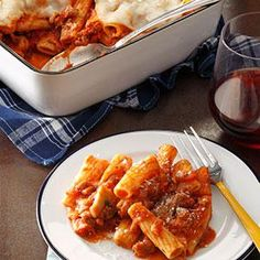 Italian Sausage Rigatoni Bake. Because my husband is not a big fan of Italian sausage, I use mostly ground beef and sneak in the sausage.