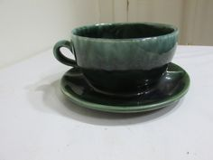 McCoy Planter Cup and Saucer Green Drip by LuRuUniques on Etsy