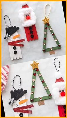 These popsicle stick Christmas crafts are so easy and fun to make! Make a snowman, Santa and Christmas tree with these step-by-step instructions and video. christmas decorations diy crafts Popsicle Stick Christmas Crafts 39+ | christmas decorations diy crafts | 2020 Popsicle Stick Christmas Crafts, Christmas Crafts To Make, Christmas Crafts For Kids To Make, Diy Christmas Ornaments, Christmas Tree, Popsicle Crafts, Christmas Decorations, Christmas Ideas, Black Christmas