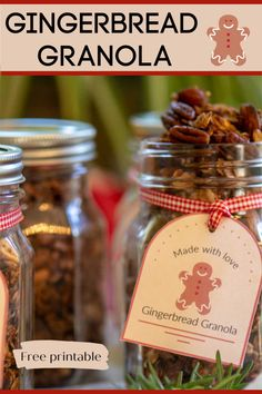Adorable, delicious and easy-to-make, this Gingerbread Granola makes for a perfect Holiday Treat and Gift! via Delicious and easy-to-make gingerbread granola is so easy to make, tastes amazing and is a great gift for your family and friends! Christmas Food Gifts, Xmas Food, Homemade Christmas Gifts, Holiday Treats, Holiday Recipes, Holiday Desserts, Candy Recipes, Christmas Candy, Sweet Recipes