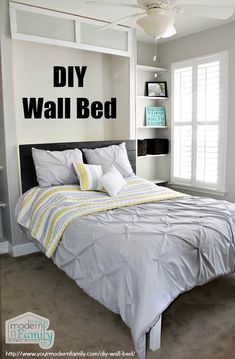 This DIY wall bed is the perfect Queen Murphy Bed! These Murphy Bed plans are easy & can be done over a weekend. Shows you exactly how to Build a Murphy Bed Build A Murphy Bed, Queen Murphy Bed, Murphy Bed Plans, Murphy Bed Office, Cama Murphy Ikea, Camas Murphy, Apartment Decoration, Diy Bett, Modern Murphy Beds