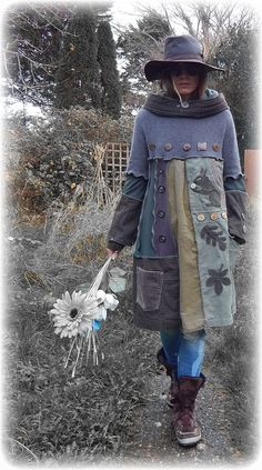 awesome SCIURUS * Squirrel Elvish Leaf Folk Jumper Sweater Dress Snood Hood with Decorative Buttons ReCyCleD UpCyCleD Wearable Art Size:Small/Medium
