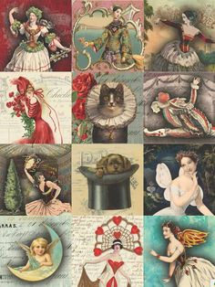 7 Free Creative Collage Sheet Printables For Decoupage Tissue Paper · Artsy Fartsy Life Vintage Hipster, Vintage Diy, Motif Vintage, Decoupage Vintage, Design Vintage, Vintage Paper Crafts, Decoupage Art, Vintage Embroidery, Embroidery Patterns