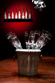 chilled champaing glasses ready to be served