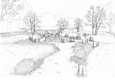 Jardín Molino del Tomollo, Oteruelo del Valle | Flickr - Photo Sharing! Landscape Architecture Drawing, Architecture Graphics, Landscape Plans, Landscape Drawings, Landscape Design, Photorealistic Rendering, Plan Sketch, Sketch Design, Drawing Sketches
