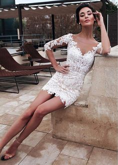 Magbridal Marvelous Tulle & Organza Jewel Neckline 2 In 1 Wedding Dresses With Detachable Skirt & Lace Appliques & Beadings Short Lace Wedding Dress, Top Wedding Dresses, Tea Length Wedding Dress, Wedding Gowns, Lace Dress, White Dress, Bridesmaid Dresses, Reception Dresses, Popular Dresses