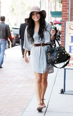 Vanessa Hudgens wearing Balenciaga Part Time Bag MM6 Strappy Sandals Free People Janis Brimmed Hat Gypsy05 Nelly Silk Belted Mini Dress Melinda Maria Vanessa Pod Ring in Platinum