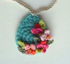 Crochet Turquoise with Peach and Pink Flowers Pendant Necklace  by meekssandygirl, via Flickr