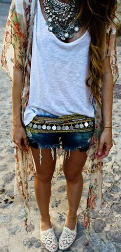 boho chic crochet espadrilles with gypsy coin belt and chunky layered necklaces for a festival modern hippie look. For the BEST Bohemian fashion trends FOLLOW https://www.pinterest.com/happygolicky/the-best-boho-chic-fashion-bohemian-jewelry-gypsy-/ now