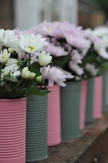 I love the re-purposing of the cans and it just so happens pink & gray are one of my favorite color combos.
