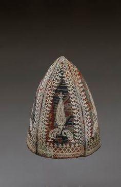 Iran, men's hat, wool, cotton-thread embroidery Oriental, Persian Motifs, Persian Culture, Kilims, Folk Costume, Sufi, Central Asia, China Fashion, Tribal Jewelry