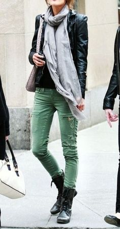 Black leather jacket. Gray scarf. Green skinny jeans. Black laced booties. Awesome outfit.
