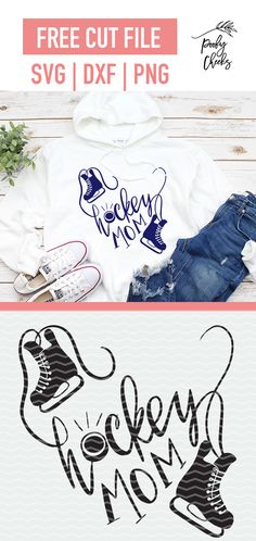 Hockey Mom cut file for use with Silhouette and Cricut. SVG, DXF and PNG file fo… Hockey Mom cut file Hockey Shirts, Hockey Mom, Cricut Vinyl, Svg Files For Cricut, Diy Sweatshirt, Cricut Tutorials, Brother Scan And Cut, Mom Tattoos, Fashion Sites