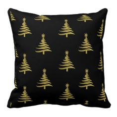 Christmas Trees Gold on Black Throw Pillows by Lee Hiller #ChristmasTree #HolidayGifts