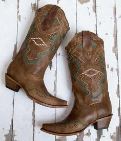 70c4deb165a Corral Studded Leather Western Boot - Women s Shoes in Tan Turq Ethnic and  Studs