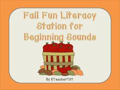 Fall Fun Beginning Sounds Printable Literacy Station!