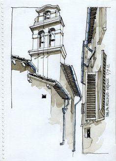 JR Sketches: Italia 4º Set 2012. 17x24, Pen & Watercolor