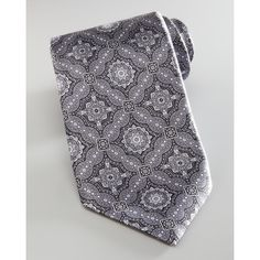 Stefano Ricci Micro-Stripe Dress Shirt & Paisley Tie, Gray ($600) ❤ liked on Polyvore