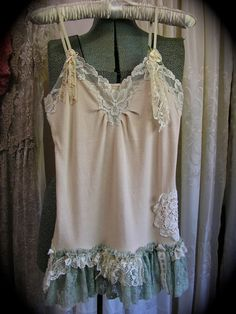 Lace Ruffles Top, upcycled altered clothes, shabby and chic style clothing, romantic feminine, SMALL