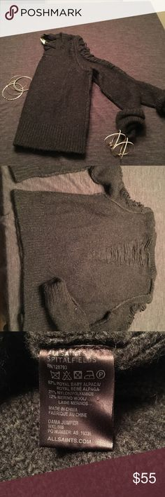 Allsaints Sweater Allsaints grey partial cold shoulder sweater. Made of 67% Royal Baby Alpaca, 21% Nylon and 12% Wool. All Saints Sweaters Crew & Scoop Necks