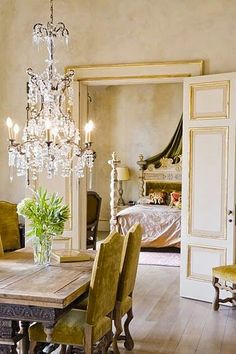 Beautiful chandelier and French country style