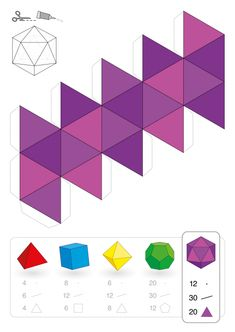 Paper model of an icosahedron, one of the five platonic solids,. Diy Origami, Paper Crafts Origami, Cement Art, Platonic Solid, Math Art, Paper Folding, 3d Shapes, Geometric Art, Origami Geometric Shapes