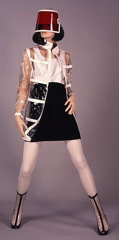 Dress of the Year's Ensemble, Coat by Michele Vivier. (Very futuristic) Fashion in 1960s London - Victoria and Albert Museum.