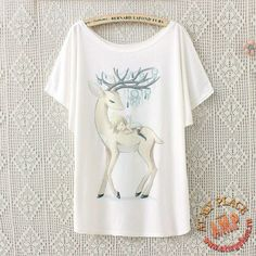 """Белая футболка """"Олень и ангел"""""""