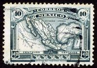 First map of Mexico on postage stamp | Geo-Mexico, the geography of Mexico