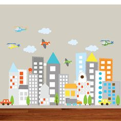 Kids Vinyl Wall Sticker Decal Art city buildings by wallartdesign, $250.00