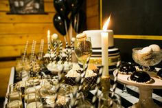 gentleman party, фотозона, Minty decor, birthday party, black & white, gold, dessert table, sweets, candy bar.