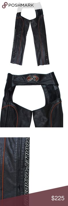 """HARLEY DAVIDSON Black Leather Riding Chaps Pants Excellent condition! These black leather motorcycle chaos from Harley Davidson feature orange pipe trim, snap closures at the bottom of the legs, adjustable buckle at the waist, and elastic on the sides of the waist for a perfect fit. Waist measures approx: 30-32"""", inseam, 32"""" Harley-Davidson Pants"""