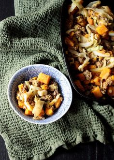 Bison, Kabocha Squash, and Cabbage Skillet (AIP, Paleo) | Don't Eat the Spatula