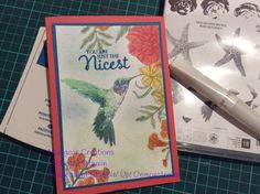 Stampin' Up! Picture Perfect and Corner Garden. Humming bird using pacific point, elegant eggplant, cucumber crush and basic grey with highlights of wink of stella