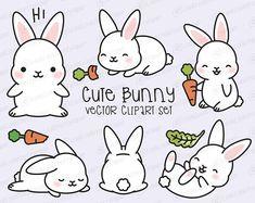 Premium Vector Clipart - Kawaii Bunny - Cute Bunny Clipart Set - High Quality Vectors - Instant Download - Kawaii Clipart
