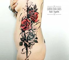 Rose tattoo - carolina caos avalle life tattoos, new tattoos, wicked tattoo Boob Tattoo, Tattoo Femeninos, Cover Tattoo, Body Art Tattoos, Girl Tattoos, Sleeve Tattoos, Chest Tattoo, Large Tattoos, Trendy Tattoos