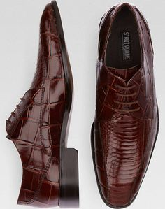 Stacy Adams Piccard Brown Snakeskin Bike Toe Lace Up Shoes