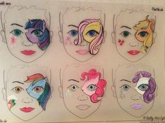 Eye Face Painting, Face Painting Stencils, Face Painting Designs, Body Painting, Cartoon Faces, Balloon Animals, Little Pony, Makeup Art, Animation