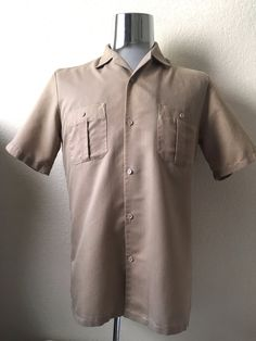 Vintage Men's 80's Shirt, Tan, Button Up, Short Sleeve by Triumph (M) by Freshandswanky on Etsy