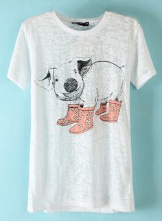 White Short Sleeve Pig Print T-Shirt - Sheinside.com I want sooo badly but it's out of stock :(