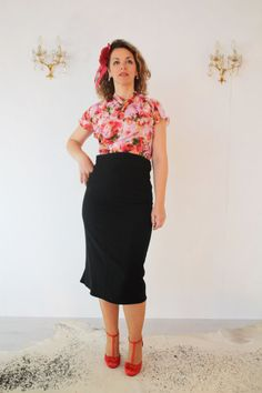 1940's wrap top bright floral chiffon WWII door SunnySideCouture