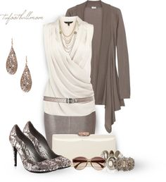 """""""Pencil It In! - Pewter & Cream"""" by tufootballmom on Polyvore"""