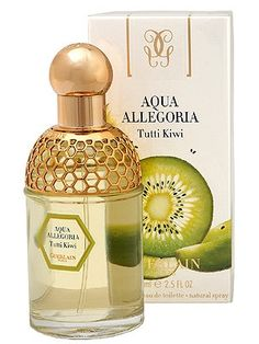 "Guerlain: Aqua Allegoria Tutti Kiwi.  I really wanted to like this!  It just smells kind of unimpressive on my skin.  My least favorite of the Aqua Allegoria scents in my collection.  Description:""Fresh and seductive kiwi scent dwells in the heart of this perfume. Clear and fresh notes of mandarin and lemon in harmony with delicate geranium complement the composition, while vanilla and sandalwood form a soft and sweet aura."""