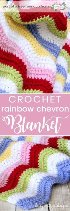 Get the free crochet pattern for this rainbow chevron ripple baby blanket from Daisy Cottage Designs featured in my gender neutral rainbow baby blanket FREE pattern roundup!