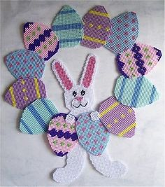 plastic canvas bird house | Easter Bunny-Bunnies and Eggs Wreath- Plastic Canvas Pattern